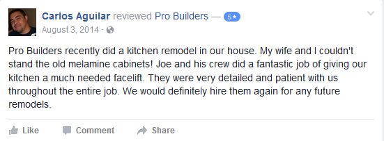 Pro Builders Review on FB